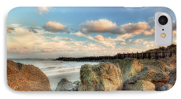 Shoreline Rocks And Fence Posts Folly Beach Phone Case by Jenny Ellen Photography