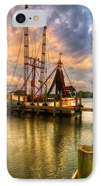 Shrimp Boat At Sunset Phone Case by Debra and Dave Vanderlaan