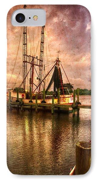 Shrimp Boat At Sunset II Phone Case by Debra and Dave Vanderlaan