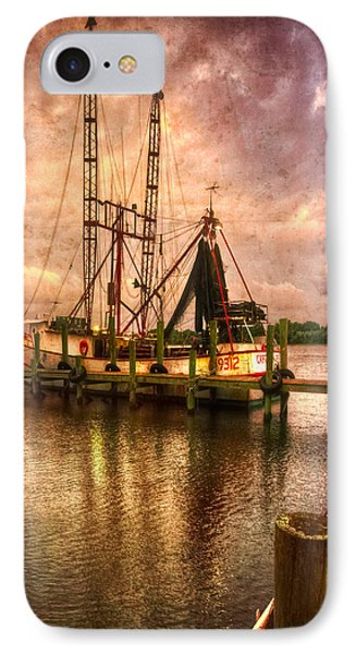 Shrimp Boat At Sunset II IPhone Case by Debra and Dave Vanderlaan