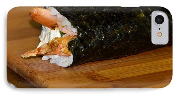 Shrimp Sushi Roll On Cutting Board Phone Case by Carolyn Marshall
