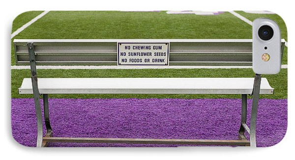 Sign On Athletic Field Bench Phone Case by Andersen Ross