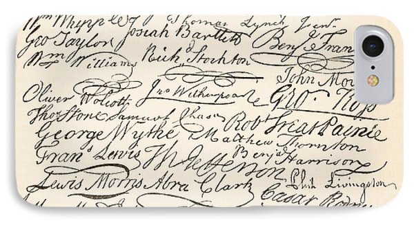Signatures Attached To The American Declaration Of Independence Of 1776 IPhone Case by Founding Fathers