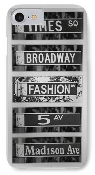 Signs Of New York In Black And White Phone Case by Rob Hans
