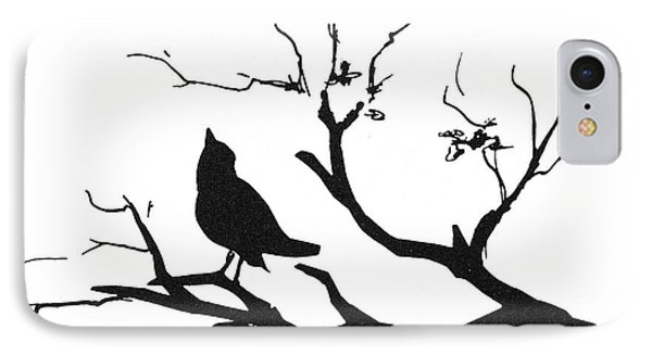 Silhouette: Bird On Branch Phone Case by Granger