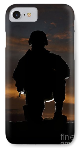 Silhouette Of A U.s. Marine In Uniform Phone Case by Terry Moore