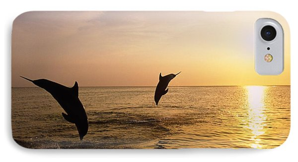 Silhouette Of Bottlenose Dolphins Phone Case by Natural Selection Craig Tuttle