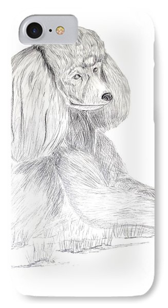 IPhone Case featuring the drawing Silver Poodle by Maria Urso