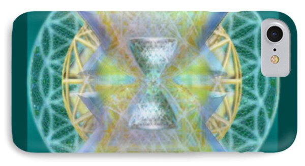 IPhone Case featuring the digital art Silver Torquoise Chalice Matrix Subtly Lavender Lit On Gold N Blue N Green With Teal by Christopher Pringer
