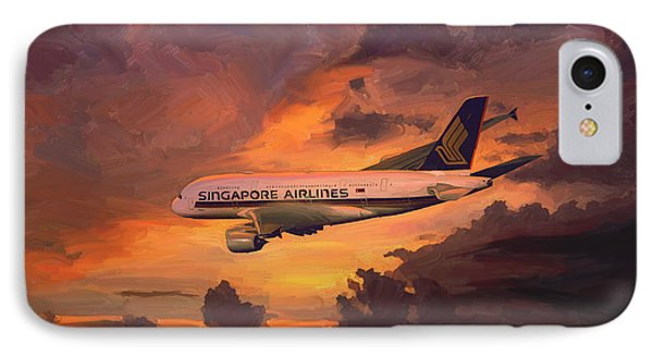 IPhone Case featuring the painting Singapore Airlines A380 by Nop Briex