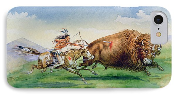 Sioux Hunting Buffalo On Decorated Pony IPhone Case by American School