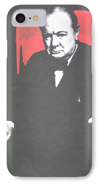 Sir Winston Leonard Spencer Churchill  IPhone Case by Luis Ludzska