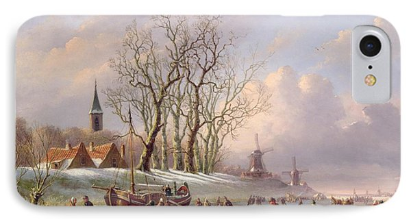 Skaters On A Frozen River Before Windmills Phone Case by Dutch School