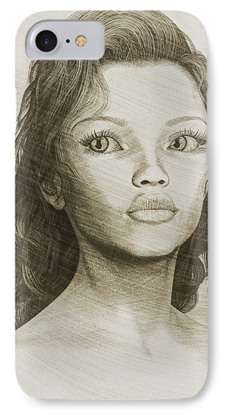 IPhone Case featuring the digital art Sketched Portrait by Maynard Ellis