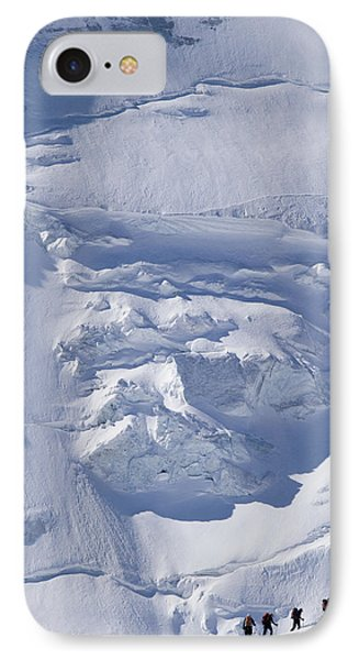 Skiers Cross The Aletsch Glacier En Phone Case by Axiom Photographic
