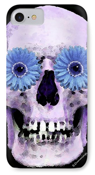 Skull Art - Day Of The Dead 3 IPhone Case by Sharon Cummings