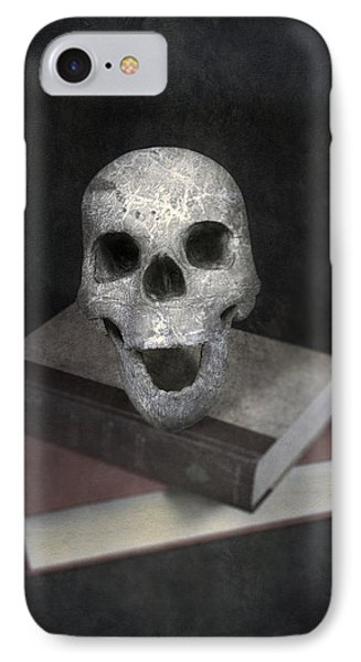 Skull On Books Phone Case by Joana Kruse
