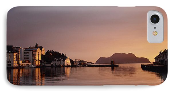 Skyline Of Town At Dusk Phone Case by Axiom Photographic