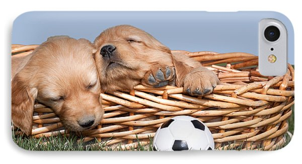 Sleeping Puppies In Basket And Toy Ball Phone Case by Cindy Singleton