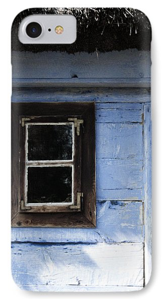 IPhone Case featuring the photograph Small Window On Blue Wall by Agnieszka Kubica