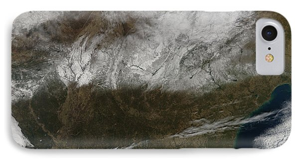 Snow Cover Stretching From Northeastern Phone Case by Stocktrek Images
