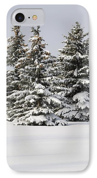 Snow Covered Evergreen Trees Calgary Phone Case by Michael Interisano
