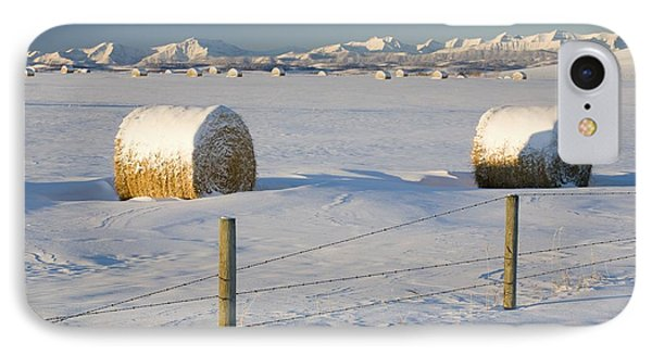 Snow Covered Hay Bales In A Snow Phone Case by Michael Interisano