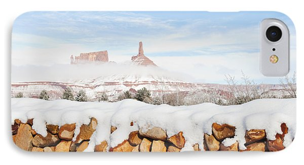 Snow Covered Rock Wall Phone Case by Thom Gourley/Flatbread Images, LLC