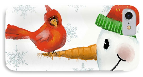 IPhone Case featuring the digital art Snowman And The Cardinal by Arline Wagner
