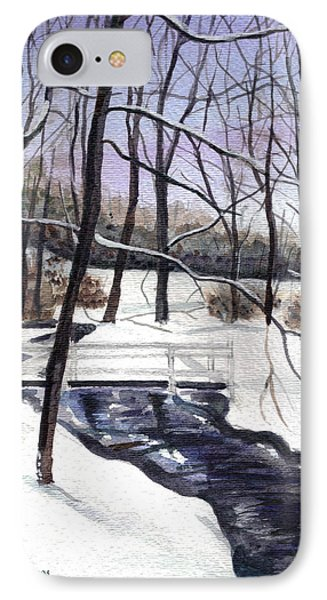 IPhone Case featuring the painting Snowy Shawnee Stream by Clara Sue Beym