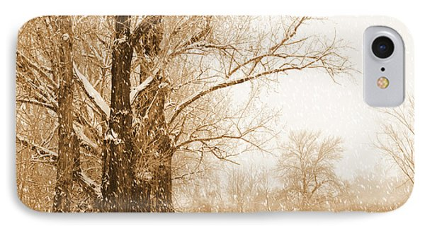 Soft Sepia Season's Greetings IPhone Case by Carol Groenen
