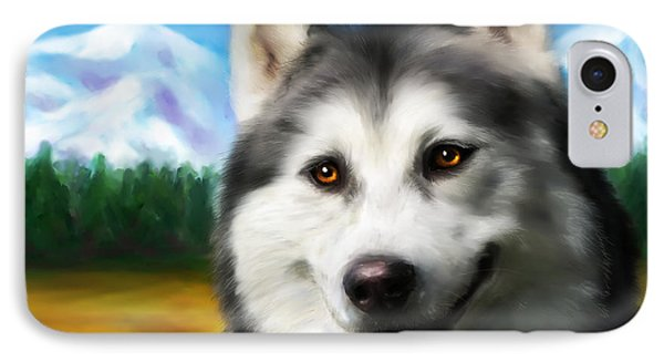 Smiling Siberian Husky  Painting IPhone Case