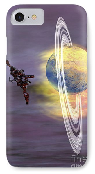 Solar Winds Hit A Ringed Planet IPhone Case