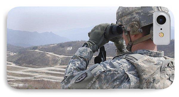 Soldier Observes An Adjust Fire Mission Phone Case by Stocktrek Images