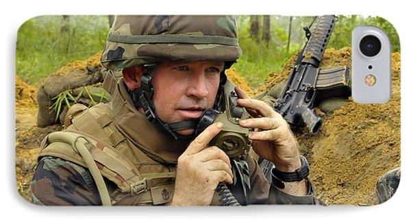 Soldier Using A Ta-1 Sound Powered Phone Case by Stocktrek Images