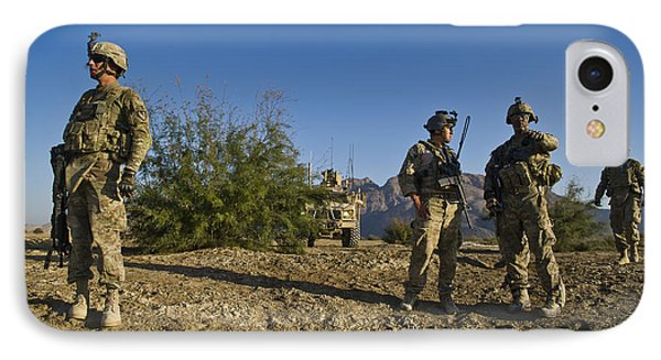 Soldiers Discuss A Strategic Plan Phone Case by Stocktrek Images