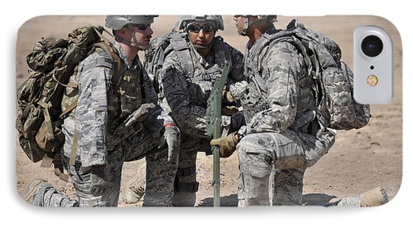 Soldiers Discuss A Strategic Plane Phone Case by Stocktrek Images