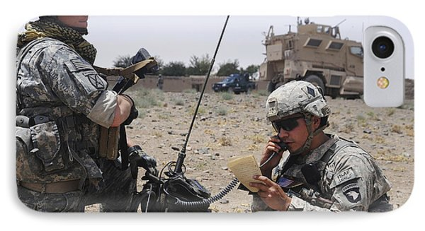 Soldiers Setting Up A Satellite Phone Case by Stocktrek Images