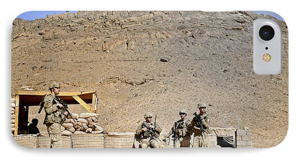 Soldiers Wait For Afghan National Phone Case by Stocktrek Images