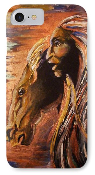 IPhone Case featuring the painting Soul Of Wild Horse by Karen  Ferrand Carroll