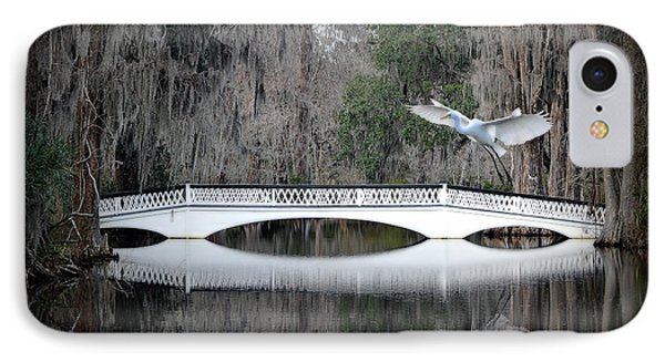 IPhone Case featuring the photograph Southern Plantation Flying Egret by Dan Friend