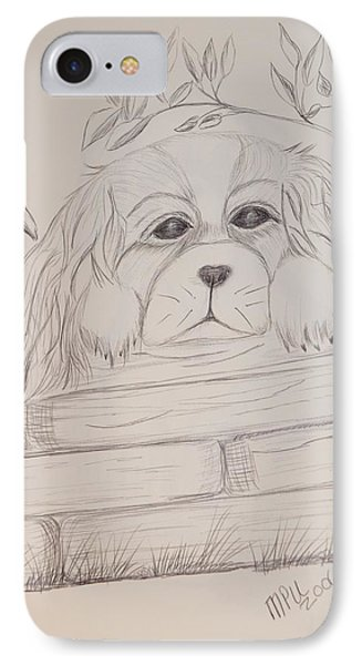 IPhone Case featuring the drawing Spaniel Pup by Maria Urso