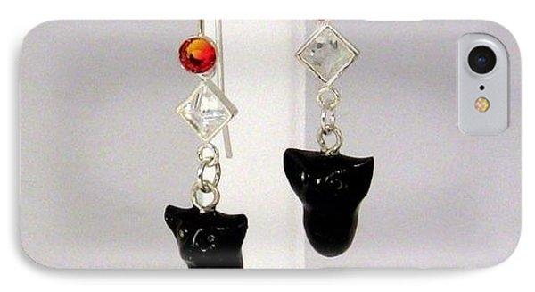 Sparkly Black Kitten Earrings In Fire Opal Phone Case by Pet Serrano