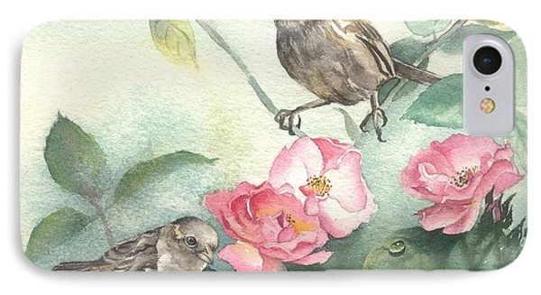 IPhone Case featuring the painting Sparrows And Dog Rose by Sandra Phryce-Jones
