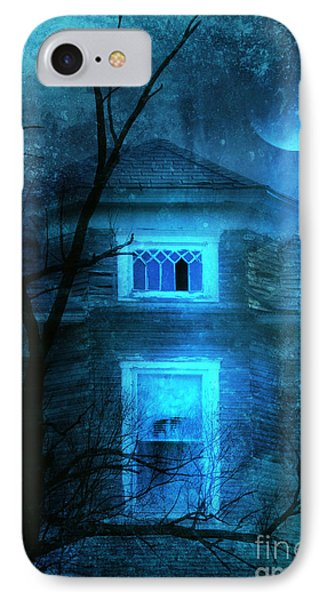 Spooky House With Moon Phone Case by Jill Battaglia
