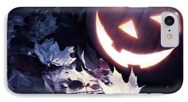 Spooky Jack-o-lantern On Fallen Leaves IPhone Case by Oleksiy Maksymenko