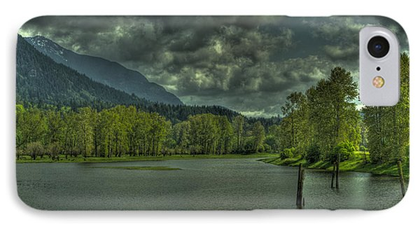 Spring Clouds At The Nicomen Slough IPhone Case by Rod Wiens