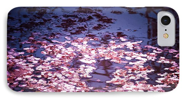 Spring's Embers - Cherry Blossom Petals On The Surface Of A Pond IPhone Case