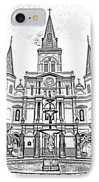 St Louis Cathedral And Fountain Jackson Square French Quarter New Orleans Photocopy Digital Art Phone Case by Shawn O'Brien