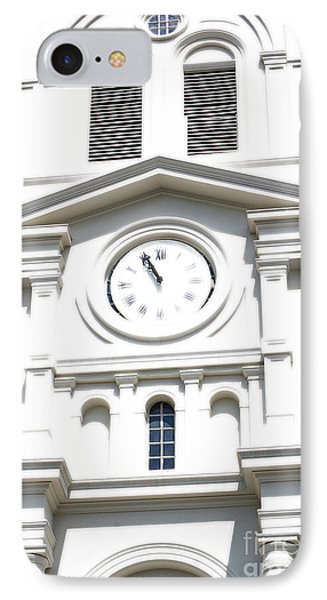 St Louis Cathedral Clock Jackson Square French Quarter New Orleans Diffuse Glow Digital Art Phone Case by Shawn O'Brien